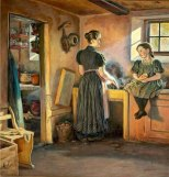 """Mother and Daughter in the Kitchen"" Viggo Pedersen"