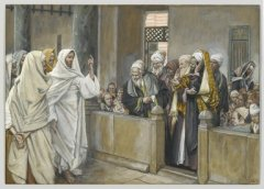 """The Chief Priests Ask Jesus by What Right Does He Act in This Way"" James Tissot"