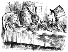 """Alice with the March Hare, Hatter and Dormouse at the Mad Tea Party"" John Tenniel"