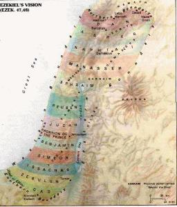 Approximate Distribution of Land to the Twelve Tribes during Messiah's Coming Reign Lambert Dolphin