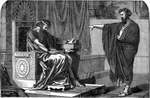"In ""Jeremiah Confronts the King"", W.A. Foster, illustrates God's contention with King Jehoiachin (Jeconiah)."