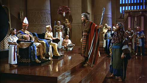 Moses (Charlton Heston) confronts Pharaoh (Yul Brynner) in Cecil B. DeMIlle's The Ten Commandments