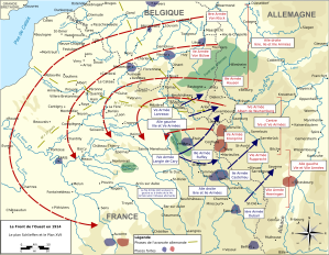 Conflicting War Plans:  Germany's Schlieffen Plan aimed at a quick conquest of France.  French plans for an offensive toward the Rhine aimed at regaining Alsace and Lorraine.