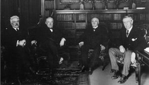 The Big Four at the Paris Peace Conference, 1919.  Left to right:  Vittorio Orlando (Italy), David Lloyd George (Great Britain), Georges Clemenceau (France), Woodrow Wilson (United States).