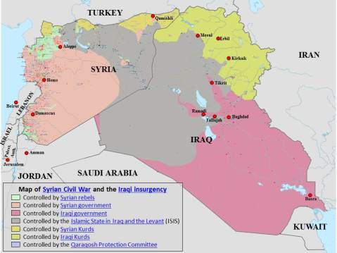 Map of the Syrian Civil War and Iraqi Insurgency Wikimedia Commons