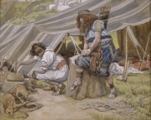 "Esau sold his birthright for a bowl of soup.  Don't be like Esau. ""The Mess of Pottage"" James Tissot Jewish Museum Online Collection via Wikimedia Commons"