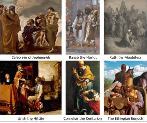 Foreigners who were grafted in to Israel.  Clockwise from top left:  Caleb son of Jephunneh (Moses and the Messengers from Canaan, Giovanni Lanfranco); Rahab the Harlot (The Harlot of Jericho and the Two Spies, James Tissot); Ruth the Moabitess (Ruth and Boaz, Gustave Doré); Uriah the Hittite (King David Handing the Letter to Uriah, Pieter Lastman); Cornelius the Centurion (Baptism of Cornelius, Francesco Trevisani); The Ethiopian Eunuch (Baptism of the Ethiopian Eunuch, www.tillhecomes.org).