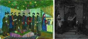Key components of the Feast of Tabernacles (Sukkot) are construction of sukkahs (tabernacles or booths) where meals are eaten during the eight days of the feast.  Sukkahs serve as a remembrance of the tents in which the Israelites lived during the Exodus and 40 years in the wilderness.  In the painting on the left, Feast of Sukkot Prayers, by Shalom Kaboshvili, the man at the left holds the Four Species (fronds and boughs from a palm, myrtle, and willow, and an etrog (citron)), the plants specified in Leviticus 23:40.  The picture on the right, Sukkot (Das Laubhütten-Fest), by Moritz Daniel Oppenheim, depicts a German Jewish family taking the evening meal in their sukkah.