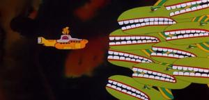 Encounter with a school of whales, from the 1968 Beatles movie, Yellow Submarine.