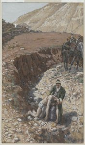 The Good Samaritan, by James Tissot.  This parable remains one of Yeshua's most powerful lessons in cross-cultural compassion and cooperation.