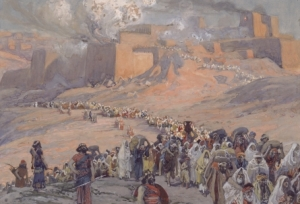 "In ""The Flight of the Prisoners"", James Tissot depicts the destruction of Jerusalem by the Babylonians."