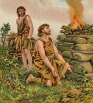 "When Abel and Cain offered sacrifices, both had meaning, but only one was acceptable.  (Bible Card illustration, ""The Story of Cain and Abel"")"