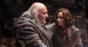 "Methuselah (Anthony Hopkins) meets his great-grandson, young Shem (Gavin Casalegno) in Darren Aronofsky's 2014 film, ""Noah""."