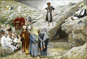 John baptized with water, but warned of Messiah's baptism with fire.  James Tissot, Saint John the Baptist and the Pharisees.