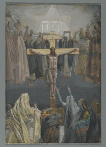 It Is Finished, by James Tissot, follows  the standard Christian depiction of Messiah's work on the cross.  He did indeed complete the work of redemption, which is cause for great rejoicing among the prophets of Israel who foretold it.  However, the world continues to wait for the promised fulfillment of His work of restorating all things.