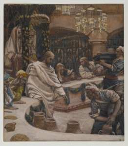 Since Messiah is the Bridegroom for Israel, His Bride, it is fitting that Yeshua's first recorded miracle occurred at a wedding.  (James Tissot, The Wedding at Cana.)