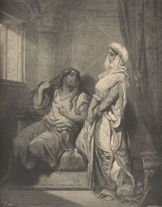 The Scriptures tell us that God designated two men to be Nazirites from the womb:  Samson and John the Baptist.  The engraving Samson and Delilah, by Gustave Doré, features Samson's uncut hair, the sign of a Nazirite.  Their hair indicated their special status as set apart to God, and in the case of the Bible's two most famous Nazirites, that the Holy Spirit rested on them for similar purposes of judging the nation of Israel and proclaiming the Lord's salvation.  In John, the Spirit's presence manifested in uncompromising preaching; in Samson the Spirit imparted supernatural strength.