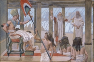 Moses knew he was called to deliver Israel from Egyptian bondage, but until God completed training him he most likely anticipated delivering Israel as Pharaoh, not as a rehabilitated shepherd sent by God to Pharaoh.  (James Tissot, Moses Speaks to Pharaoh.)
