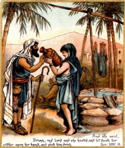 Eliezer of Damascus, Abraham's steward, rendered his greatest service to his master by finding a wife for Isaac, his son and heir. (Rebekah at the Well, The Coloured Picture Bible for Children, available on Mannkind Perspectives.)