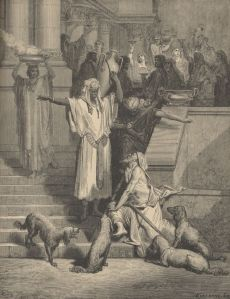 In the parable of Lazarus and the Rich Man, Yeshua  admonished His listeners to pay attention to Moses and the Prophets.  That admonishment is applicable today, particularly since Moses gave the first prophecies about the restoration of all Israel.  (Gustave Doré, Lazarus and the Rich Man.)