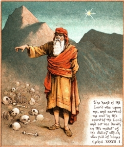 The Vision of the Dry Bones is the most graphic illustration of God's promised restoration of the Kingdom of Israel. The establishment of the State of Israel opened the way for Judah (the Jewish portion of Israel) to return to the land, but to the way for Ephraim (Northern Israel) is only now beginning to open. (Ezekiel's Vision, The Coloured Picture Bible for Children, available on Mannkind Perspectives.)