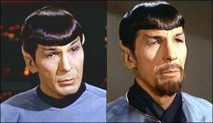 "Lenard Nimoy portrayed a famous Evil Twin in his dual role as Mr. Spock and his alter-ego in ""Mirror Mirror"", one of the most memorable episodes of Star Trek, The Original Series."