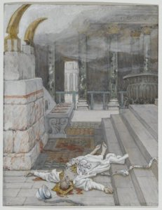 The murder of the Prophet Zechariah in the Temple was a great offense against the Lord, but unlike the Abomination of Desecration, it did not desecrate the Altar and put an end to the daily sacrifices.  (Zacharias Killed Between the Temple and the Altar, James Tissot)