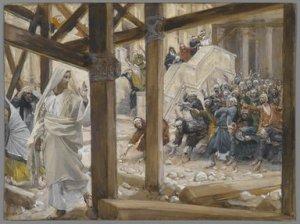 The Jews Took Up Rocks to Stone Jesus  James Tissot