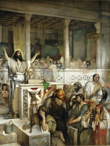 It was in the synagogue at Capernaum that Yeshua made some very difficult statements which cost Him most of His disciples.  (Christ Preaching at Capernaum,  Maurycy Gottlieb)
