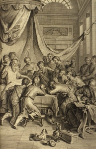 "Jacob Blesses His Sons, as in Genesis 49:1-2:  ""And Jacob called unto his sons, and said, Gather yourselves together, that I may tell you that which shall befall you in the last days.  Gather yourselves together, and hear, ye sons of Jacob; and hearken unto Israel your father.""; illustration from the 1728 Figures de la Bible; illustrated by Gerard Hoet (1648-1733) and others, and published by P. de Hondt in The Hague; image courtesy Bizzell Bible Collection, University of Oklahoma Libraries."
