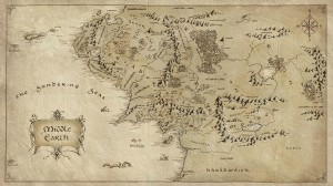 Map of the realms of Middle Earth.  Tolkien fans are familiar with the kingdom of Gondor, in the south opposite Mordor.  Less familiar, but no less important, is the kingdom of Arnor, which at one time incorporated most of the region of Eriador.  (Source:  The HD Wall)