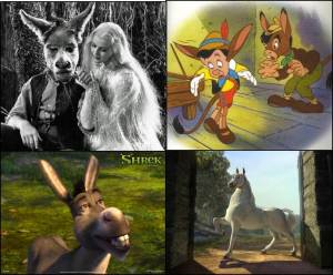 "Donkeys in Transition.  Top left:  James Cagney as Nick Bottom, with Anita Louise as Titania in the 1935 production of A Midsummer Night's Dream (via ""The Many Faces of Nick Bottom"" on Shakespeare Talks).  Top right:  Pinocchio turns into a donkey, from the 1940 Walt Disney film, Pinocchio, via The Disney Wiki.  Bottom Left:  Donkey (voiced by Eddie Murphy) in Shrek the Third (via HD Wallpapers).  Bottom Right:  Donkey as Stallion in Shrek II (via Wiki Shrek)."