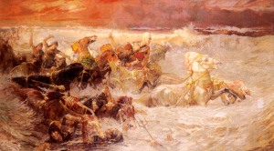 Pharaoh's Army Engulfed by the Red Sea Frederick Arthur Bridgman