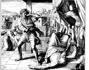 "In the first act of fulfillment of God's prophecy regarding the Priesthood, Eli the High Priest falls backward to his death on hearing the news of his sons' deaths and of the loss of Ark of the Covenant to the Philistines.  (Julius Schnorr von Carolsfeld, ""Death of Eli"", Die Bibel in Bildern, 1860)"