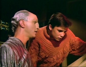 "The Traveler (Eric Menyuk) and Wesley (Wil Wheaton) discuss the connection of Space and Time and Thought in ""Where No One Has Gone Before"" (Star Trek: The Next Generation, Episode 5.  Photo from The Viewscreen.)"
