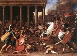The Abomination of Desolation has happened before and will happen again, but the lesson of it will not be complete until God's people recognize that the Abomination of Desolation has been operating in our hearts ever since the Lord separated us from His Altar until we could understand His rules.  (Nicolas_Poussin, The Destruction of the Temple at Jerusalem)