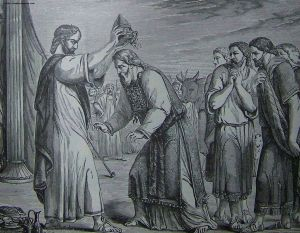 Consecration of Aaron and His Sons.  Illustration from the 1890 Holman Bible.