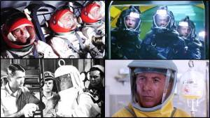 Operating in deadly environments. Clockwise from top: James Franciscus, Gene Hackman, and Richard Crenna in the 1969 space drama Marooned (photo: Movie Hunger); Peter Coyote, Samuel L. Jackson, and Dustin Hoffman under the sea in Sphere (photo: Torrent Garden); Gregory Peck sends John Meillon ashore in the radiation charged atmosphere of San Diego in the film adaptation of On the Beach (photo: Senses of Cinema); Dustin Hoffman in a virus-infected hot zone in Outbreak (photo: ET Online).