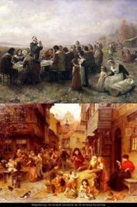"Two examples of Israelite communities:  Top - The Pilgrims of Massachusetts (""The First Thanksgiving at Plymouth"", by Jennie Augusta Brownscomb); Bottom - A Jewish community in Central Europe (""In the Shtetl"", by Ludwig Knaus)"