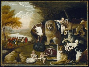 When Edward Hicks painted The Peaceable Kingdom, he applied the text of Isaiah 11 to the founding of Pennsylvania and the treaty William Penn concluded with the Lenape Nation in 1683.  His painting depicts the restoration of Eden when Messiah reigns, but neglects the rest of Isaiah 11 - the Second Exodus when the Lord brings all of Israel out of the nations and restores them to His land.