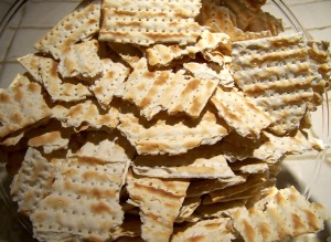 "Since the Exodus from Egypt the people of Israel have been developing creative ways to eat matzah, but all of them involve breaking the unleavened bread.  (Photo from ""Matzo Stuffing: A Jewish Twist on Thanksgiving"", LeahsThoughts.com)"