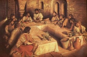 "Yeshua breaks matzah and distributes to His disciples at the Passover seder He celebrated with them the night before His death.  (Photo:  ""What's Wrong with this Picture"", Acts242)"
