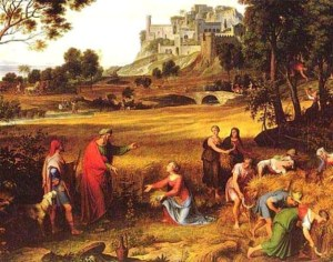 "Landscapte with Ruth and Boaz Joseph Anton Koch (from ""Bible Paintings, Ruth, Naomi, Boaz, Womeninthebible.net)"