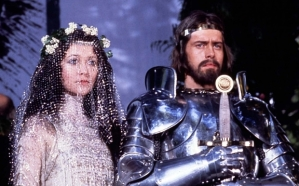 Queen Guenevere (Cherie Lunghi) and King Arthur (Nigel Terry) in the 1981 John Boorman film Excalibur.  (Photo from obituary of Nigel Terry, 1945-2015, at The Telegraph)