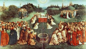 The famous painting Die Anbetung des mystischen Lammes (Adoration of the Lamb of God) by Hubert van Eyck is a stirring representation of the glory of Messiah according to Christian tradition, but does not accurately depict His position as King and High Priest of Israel.