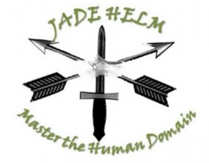 Jade Helm 15 logo with the upside down cross and wooden shoe in the middle