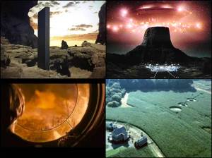 "The search of the ""Interstellar Other"" in film.  Clockwise from top left:  A mysterious monolith enlightens pre-human primates in 2001:  A Space Odyssey (""Arthur C. Clarke's 3001 to become SyFy miniseries "", Wired.Co.UK, November 4, 2014); arrival of the alien spaceship in Close Encounters of the Third Kind (""Close Encounters of the Third Kind (1977)"", Steven Spielberg Movies, December 18, 2009); crop circles indicate alien activity in Signs (""Signs Movie Review"", MediaCircus.net, 2002); the end of the world according to Knowing (""Movie Review – Knowing"", Firefox.net, March 19, 2009)."