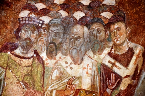 Detail from an ancient byzantine fresco at the church of St Nicholas, Demre, Southern Turkey