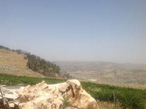 View from Har Bracha (Mount Gerizim, the Mount of Blessing) toward Elon Moreh, the mountain where God promised the land of Israel to Abraham and his seed.