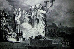 Blowing the Trumpet at the Feast of the New Moon. Illustration from the 1890 Holman Bible.